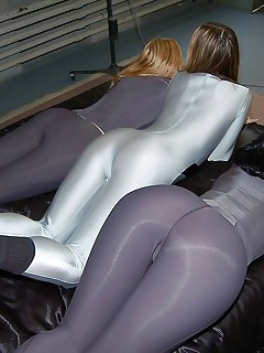 Hot doxies dressed, teasing and stripping in tight, shiny and hot spandex.